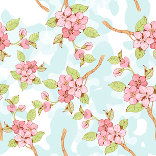 Blooming sakura tree branch seamless pattern with blue blotchiness on background vector illustrationのイラスト素材 [FYI03091833]