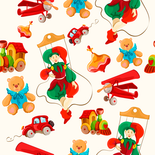 Decorative retro baby toys sketch seamless pattern of airplane peg top teddy bear puppet vector illuのイラスト素材 [FYI03091834]