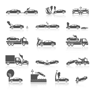 Black and white car crash and accidents icons with pedestrian warning sign and tow truck vector illuのイラスト素材 [FYI03091836]