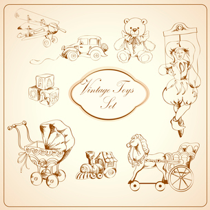 Decorative retro kids toys sketch icons set of airplane car teddy bear puppet isolated vector illustのイラスト素材 [FYI03091837]