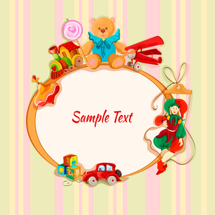 Vintage baby toys sketch frame postcard with peg top train lollypop teddy bear vector illustrationのイラスト素材 [FYI03091838]