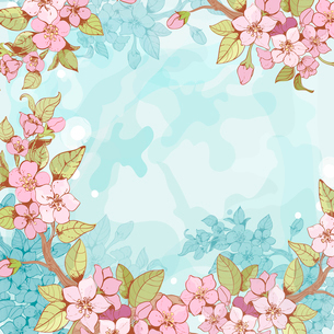 Blooming sakura tree branch frame pattern with blue flowers on background vector illustrationのイラスト素材 [FYI03091840]
