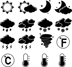 Weather forecast symbols black pictograms set of hot cold temperature isolated vector illustrationのイラスト素材 [FYI03091841]