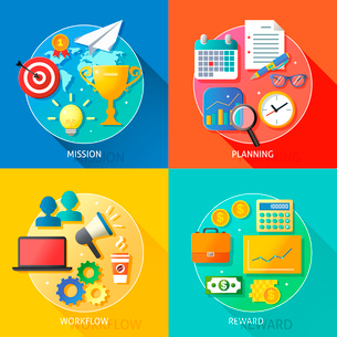 Business success steps of mission planning workflow and reward symbols vector illustrationのイラスト素材 [FYI03091849]