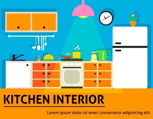 Kitchen interior modern home food cooking design poster vector illustration.のイラスト素材 [FYI03091851]