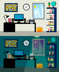 Empty office workplace day and night with work table computer and bookshelf vector illustrationのイラスト素材 [FYI03091852]