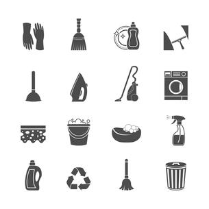 Cleaning washing housework icons set of mop vacuum cleaner bucket sponge isolated vector illustratioのイラスト素材 [FYI03091861]