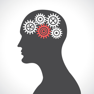 Human head silhouette thinking with gears and cogwheels poster vector illustrationのイラスト素材 [FYI03091869]