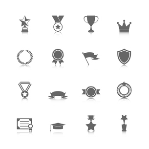 Award icons set of trophy medal winner prize champion cup isolated vector illustrationのイラスト素材 [FYI03091870]