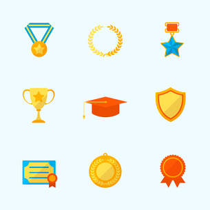 Award icons flat set of winner first place laurel wreath isolated vector illustrationのイラスト素材 [FYI03091871]