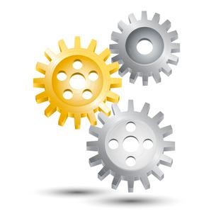 Metal cog wheel gear steel machine clock engine mechanism emblem vector illustrationのイラスト素材 [FYI03091872]