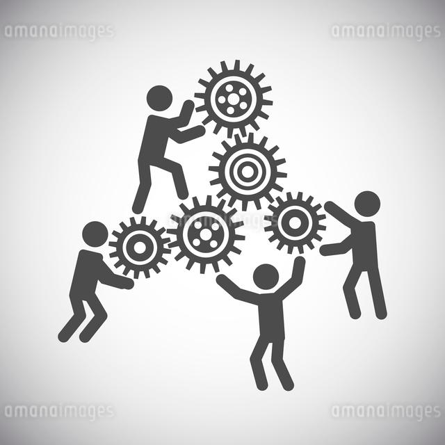 Gear cog wheels teamwork working people collaboration concept vector illustrationのイラスト素材 [FYI03091874]