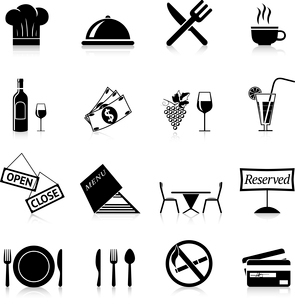 Restaurant food cooking and serving black and white icons set isolated vector illustrationのイラスト素材 [FYI03091875]