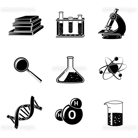 Black science icons set with flask water molecule dna structure isolated vector illustrationのイラスト素材 [FYI03091876]
