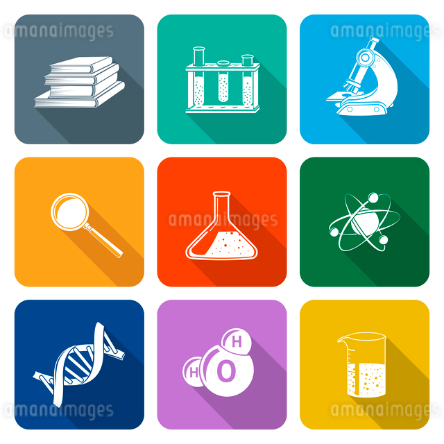 Flat science icons set with magnifier flask atom structure isolated vector illustrationのイラスト素材 [FYI03091877]