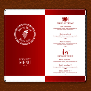 Red design restaurant menu list template with dishes and drinks names vector illustrationのイラスト素材 [FYI03091879]