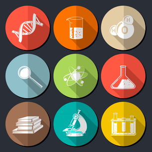 Flat science symbols set with dna structure magnifier books isolated vector illustrationのイラスト素材 [FYI03091881]