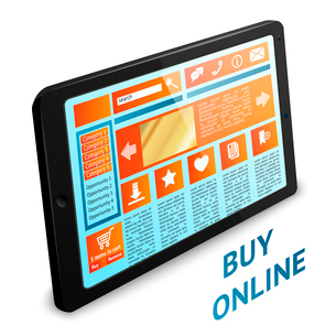 Internet shopping concept with touch tablet wireless gadget pc vector illustrationのイラスト素材 [FYI03091882]