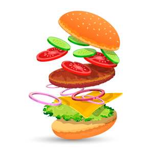 Hamburger ingredients food set of bread cucumber tomato meat onion cheese lettuce emblem vector illuのイラスト素材 [FYI03091885]