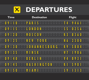 Airport departure arrival destination mechanical analog old style counter board template vector illuのイラスト素材 [FYI03091886]