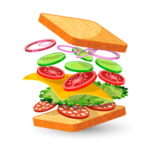 Salami sandwich ingredients food emblem with bread onion cucumber tomato cheese lettuce salami isolaのイラスト素材 [FYI03091887]