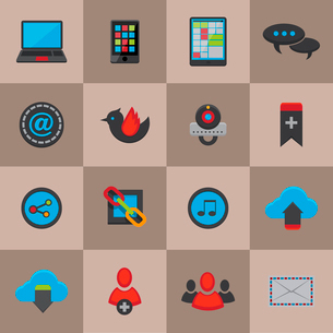Social media communication icons set for mobile internet application of chat share email and cloud sのイラスト素材 [FYI03091890]