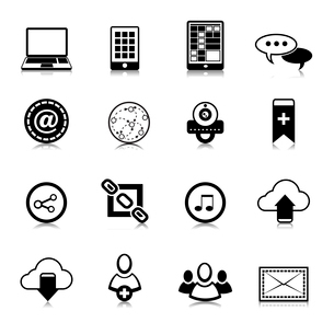 Social network symbols pictograms set for computer and electronic mobile devices isolated vector illのイラスト素材 [FYI03091893]