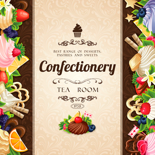 Sweets desserts food confectionery tea room cover decorative design vector illustrationのイラスト素材 [FYI03091894]