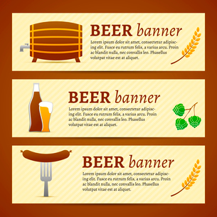 Beer banner set with barrel bottle glass and fork with sausage isolated vector illustrationのイラスト素材 [FYI03091897]
