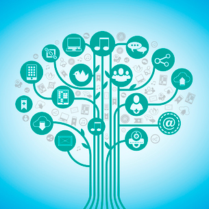 Social media tree network concept with web communication icons vector illustration.のイラスト素材 [FYI03091900]