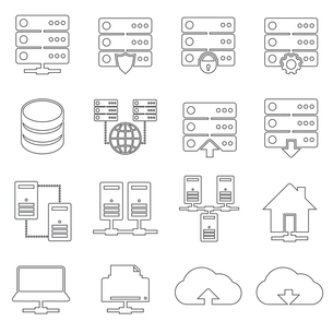 Hosting technology computer global network security and communications icons set isolated vector illのイラスト素材 [FYI03091904]