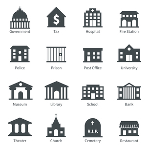 Government building icons set of police  museum library theater isolated vector illustrationのイラスト素材 [FYI03091908]