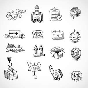 Logistic shipping freight service supply hand drawn doodle icons set isolated vector illustrationのイラスト素材 [FYI03091911]