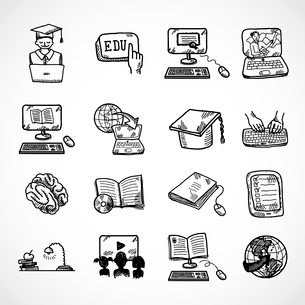 Online education learning knowledge and experience icons sketch set isolated vector illustrationのイラスト素材 [FYI03091912]