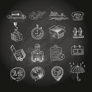 Logistic shipping freight service chalk board icons set isolated vector illustrationのイラスト素材 [FYI03091914]