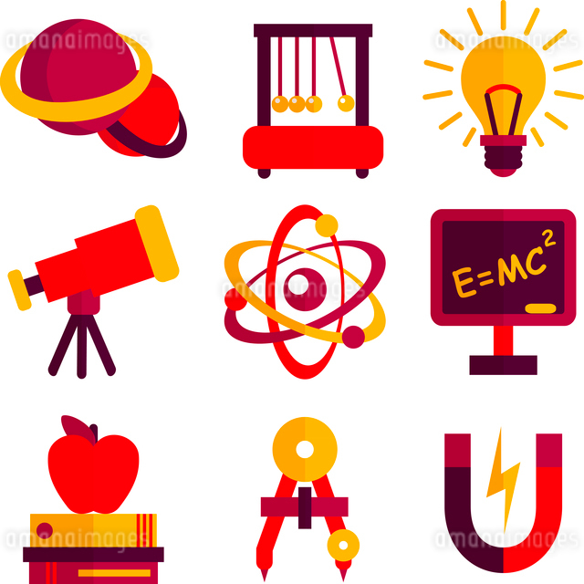 Physics and astronomy scientific laboratory equipment icons set isolated vector illustration.のイラスト素材 [FYI03091923]