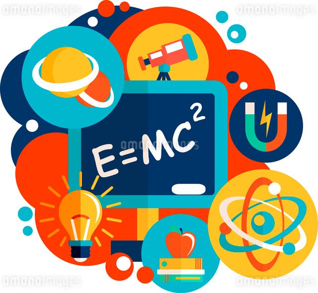 Physics science laboratory equipment flat design emblem vector illustrationのイラスト素材 [FYI03091924]