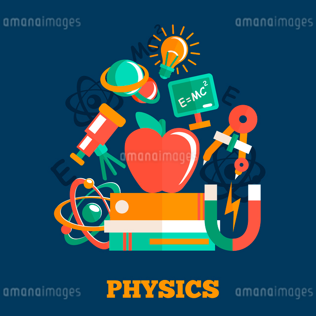 Physics science flat design poster with atom model magnet books vector illustrationのイラスト素材 [FYI03091927]