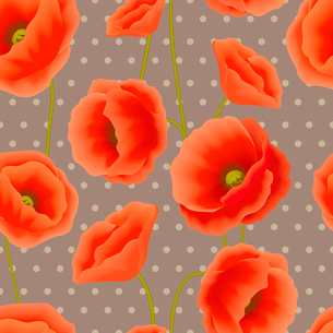 Red romantic poppy flowers with dots spots background wallpaper vector illustrationのイラスト素材 [FYI03091928]
