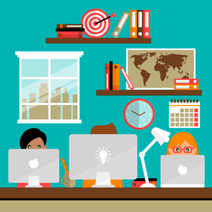 Business life people team work on laptop computers in office vector illustrationのイラスト素材 [FYI03091931]