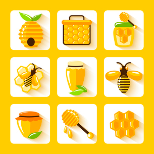 Honey drop comb bee hive and cell food agriculture flat icons set isolated vector illustrationのイラスト素材 [FYI03091932]