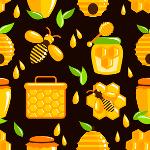 Decorative honey bumble bee honeycomb agriculture food seamless pattern vector illustrationのイラスト素材 [FYI03091933]