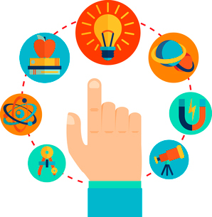 Physics signs icons with touching pointing hand concept vector illustrationのイラスト素材 [FYI03091934]