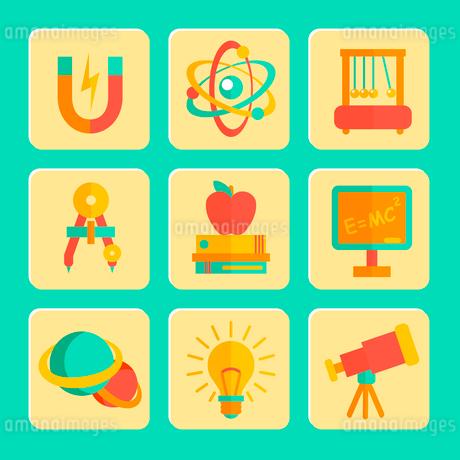 Physics equipment teaching and studying decorative icons set of blackboard  telescope and lightbulbのイラスト素材 [FYI03091935]