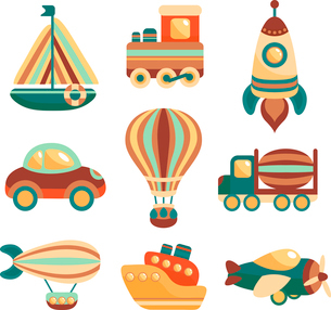 Toy transport colored cartoon icons set with yacht  train space rocket isolated vector illustrationのイラスト素材 [FYI03091937]