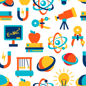 Physics equipment laboratory and education elements seamless background vector illustrationのイラスト素材 [FYI03091938]