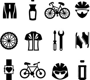 Bicycle sport fitness black and white icons set with clothes bottle helmet cyclist isolated vector iのイラスト素材 [FYI03091939]