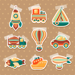 Toy transport colored cartoon stickers set with truck aerostat car isolated vector illustrationのイラスト素材 [FYI03091940]