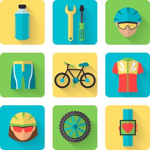 Bicycle sport fitness flat icons set with bicyclist water bottle clothes isolated vector illustratioのイラスト素材 [FYI03091941]