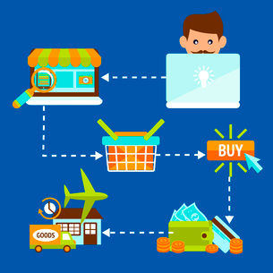 Person on laptop in internet online shopping search buy payment delivery concept vector illustrationのイラスト素材 [FYI03091942]